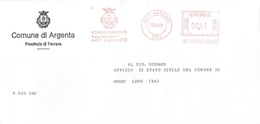 ITALIA - ITALY - ITALIE - 2002 - 00,41 EMA, Red Cancel - Comune Di Argenta - Viaggiata Da Argenta Per Lugo - Affrancature Meccaniche Rosse (EMA)