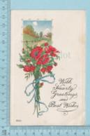 Carte Postale CPA - Christmas,  Flowers  - Used Voyagé En 1916 + USA Stamp, Cover Barre V.T. - Noël