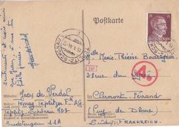 C Postkarte De Prisonnier Obl. Teplitz-Schönau Le 15/4/44 Sur TP Reich 15pf Brun Pour Clermont-ferrand + Contrôle - Deutschland