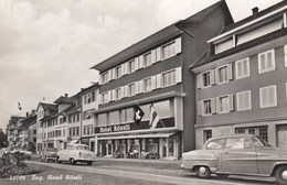 SWITZERLAND-SCHWEIZ-SUISSE-SVIZZERA-ZUG-HOTEL=ROSSLI=-AUTO CAR VOITURE-CARTOLINA VERA FOTOGRAFIA-VIAGGIATA IL 16-2-1961 - ZG Zoug