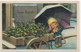 CARD BERTIGLIA NON FIRMATA  BUON NATALE BIMBA CON GROSSO OMBRELLO VENDE SU CARRETTO PUNGITOPO-FP-V-2-28845 - Bertiglia, A.
