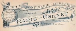 Facture 1905 / PARIS COLNET / Epicerie Mercerie Confiserie / 21 Vitteaux / Côte D' Or - France