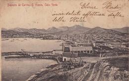 DEPOSITO  DE CARVAO. S VIÇENTE. CABO VERDE. BAZAR CENTRAL BONUCCI & FRUSONI. CPA CIRCULEE 1911 A BUENOS AIRES - BLEUP - Cap Vert