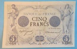 Rare Billet 5 Cinq Francs Noir De 1874 - N 3301 - Verseau - Banque De France - 684 - Type 1871 Fayette N°1 - Cf 2 Photos - 1871-1952 Anciens Francs Circulés Au XXème