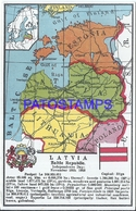 109852 LATVIA LETONIA MAP BALTIC REPUBLIC HERALDRY & FLAG POSTAL POSTCARD - Latvia