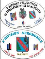 2-AUTOCOLLANT-ARMEE De TERRE-Vers 1985-4é Division Aeromobile-NANCY-F.A.R-Ft 15x9,5Cm-TBE-RARE - Autocollants