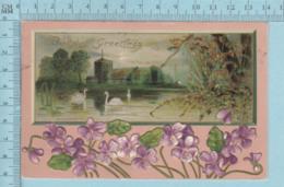 Carte Postale CPA - Birthday Greeting, Embossed - Used Voyagé En 1909 + USA Stamp, Send Martinville Quebec - Anniversaire