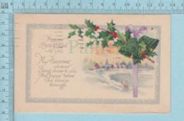 Carte Postale CPA - Christmas, Leaves Bell   - Used Voyagé En 1924 + USA Stamp, - Noël