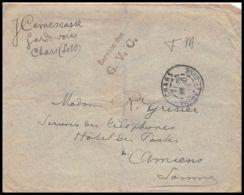 2103 Lettre (cover) Guerre 1914/1918 SECTION DES GVC CHARS Saone-et-Loire - Postmark Collection (Covers)