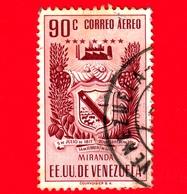 VENEZUELA - Usato - 1952 - Stemma Dello Stato Di Miranda - Arms - 90 - P. Aerea - Venezuela
