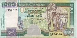 BILLETE DE SRY LANKA DE 1000 RUPEES DEL AÑO 1995 (BANKNOTE) ELEFANTE-ELEPHANT - Sri Lanka