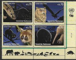 2013 UNO Wien Mi. 793-6**MNH Gefährdete Arten : Nachttiere - Wien - Internationales Zentrum
