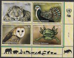 2012 UNO Wien Mi. 749-52**MNH  Gefährdete Arten - Wien - Internationales Zentrum