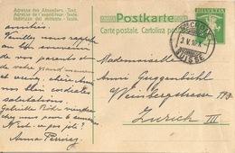 PK 41  Ste.Croix Suisse - Zürich            1910 - Entiers Postaux