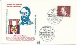 FDC Mi 528 - 13 December 1966 - Inventor Industrialist Werner Von Siemens 150th Birthday Electrical Engineering - [7] Federal Republic