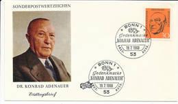 FDC Mi 567 - 19 July 1968 - Konrad Adenauer Statesman Chancellor Roman Catholic German Economic Miracle - [7] Federal Republic