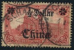 1905, 1/2 Dollar, Auf 1 Mark Gestempelt Shanghai (Mi Nr. 34 A) - Bureau: Chine