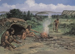 Postcard Hunting Scene 250,000 BC Flint Knapping In Foreground National Museum Of Wales My Ref  B23503 - History