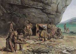 Postcard Neanderthal Man 70,000 BC Flint Knapping In Background National Museum Of Wales My Ref  B23504 - History
