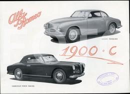 1951 RARE ORIGINAL ALFA ROMEO 1900 C COUPE TOURING CABRIOLET PININFARINA CAR OLDTIMER CATALOG PROSPEKT LEAFLET FOLDER - Cars