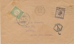 Curacao - 1929 - 15 Cent Portzegel Op Taxed Cover Van London Naar Curacao - Curaçao, Nederlandse Antillen, Aruba