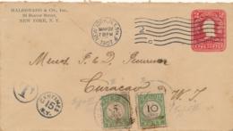 Curacao - 1907 - 5 & 10 Cent Portzegel Op Taxed Cover Van New York Naar Curacao - Curaçao, Nederlandse Antillen, Aruba