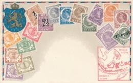 Nederlands Indië - Curacao - Postkaart Met Zegelafdrukken Van Indië (en 1 Van Curacao) - Not Sent - Pays-Bas