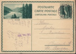 SCHWEIZ MiNr. P 143 I, ZNr. 122.9, Bildpostkarte: Davos, Gestempelt: Grindelwald 12.II.1931 - Ganzsachen