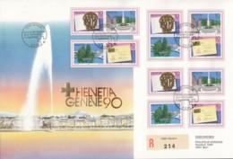 SCHWEIZ 1427-1430, FDC Mit Zusammendruck-Kombinationen Des Blocks 26, HELVETIA GENEVE 1990 - FDC