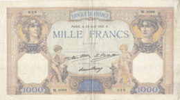 Billet 1000 F Cérès Et Mercure Du 25 Août 1932 FAY 37.07 Alph. W.2098 - 1871-1952 Circulated During XXth