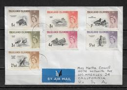 Falklands Is 1960 Air Cover To USA Queen Elizabeth-II & Birds,VF-XF !! (NR-7) - Falkland Islands