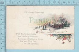 Carte Postale CPA - Christmas Greeting - Used Voyagé En 1923 + USA Stamp, Cover Madison NEBR - Noël
