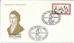 FDC Mi 894 - 13 May 1976 - Carl Maria Von Weber / Composer, Conductor, Pianist, Guitarist, Music Critic - [7] Federal Republic