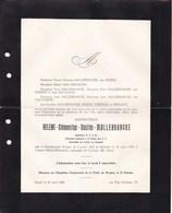 GAND Femme Ingénieur Hélène MALLEBRANCKE Molenbeek 1902 - Gand Août 1940 Enterrement Civil ? Faire-part Décès - Todesanzeige
