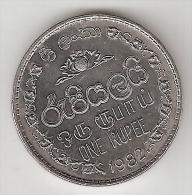 Ceylon 1 Rupee  1982  Km 136.2    Xf+ !!! - Sri Lanka