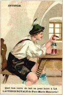 1 Chromo Pub Oostende  Ostende Laiterie Royale Du Bois Marie- Henriette Koninklijke Melkerij  Drukker Buyck Gent - Oostende