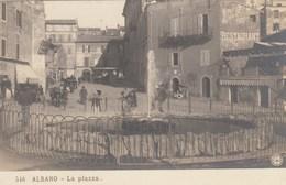 ALBANO-ROMA-LA PIAZZA-CARTOLINA VERA FOTOGRAFIA-NON VIAGGIATA- NPG-ANNO 1900-1904 - Roma