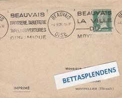 """LSC -  Flamme Double BEAUVAIS (Oise) - """"BEAUVAIS Brosserie Tbletterie Tapis Couvertures Ceramique .."""" YT 170 Pasteur - Marcophilie (Lettres)"""