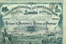 Titre Ancien - Société Anonyme Métallurgique Roumaine - Anciennes Usines Lemaitre - Titre De 1898 - Déco - Industrie