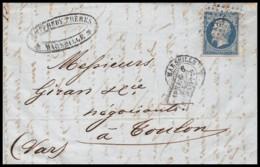 6688 Lac Lettre Cover Bouches Du Rhone Marseille 4ème N°14 B Napoléon PC 1896 Pour Toulon Après Le Départ 1860 - Marcophilie (Lettres)