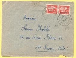 FRANCIA - France - 1940 - 2 X 50c Paix + Cachet Hexagonal - Viaggiata Da Hochstatt Per Sainte-Savine - Francia