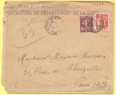 FRANCIA - France - 1937 - 15c Semeuse + 50c Paix - Préfecture Du Département De La Seine - Viaggiata Da Paris Per Paris - Francia
