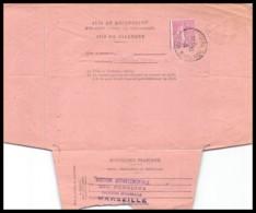 7373 Lettre Avis De Reception Bouches Du Rhone N°202 Semeuse Marseille Saint Louis 1932 - Marcophilie (Lettres)