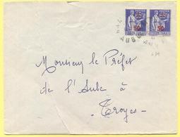 FRANCIA - France - 1941 - 2 X 65c Surchargé 50c Paix - Viaggiata Da Hampigny Per Troyes - Storia Postale