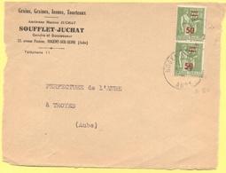 FRANCIA - France - 1941 - 2 X 75c Surchargé 50c Paix - Big Fragment - Soufflet-Juchat - Viaggiata Da Nogent-sur-Seine Pe - Francia