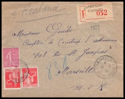 7696 Lettre Recommandé Bouches Du Rhone 202 Semeuse Paix Affranchissement Compose Marseille Sainte Marguerite 1933 - Postmark Collection (Covers)