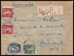 7797 Lettre Recommandé Cover Bouches Du Rhone N°179 Pasteur + Semeuse Marseille Rue Des Trois Mages 1926 - 1921-1960: Période Moderne