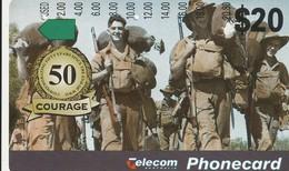 TARJETA TELEFONICA DE AUSTRALIA. AVIONES. 50 Years Since The End Of World War II/Courage. AUS-M-281. (089). - Army