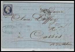 LAC Lettre-0087 Bouches Du Rhone Marseille Napoléon N°14 A T1 Pc 1896 TB 1856 4ème Arrondissement - Marcophilie (Lettres)