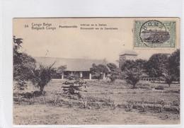 CONGO BELGE. PONTHIERVILLE. INTERIEUR DE LA STATION. CIRCULEE A BELGIQUE AN 1921 - BLEUP - Entiers Postaux